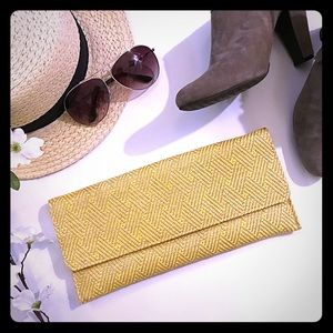 Yellow/Taupe Gray Woven Clutch
